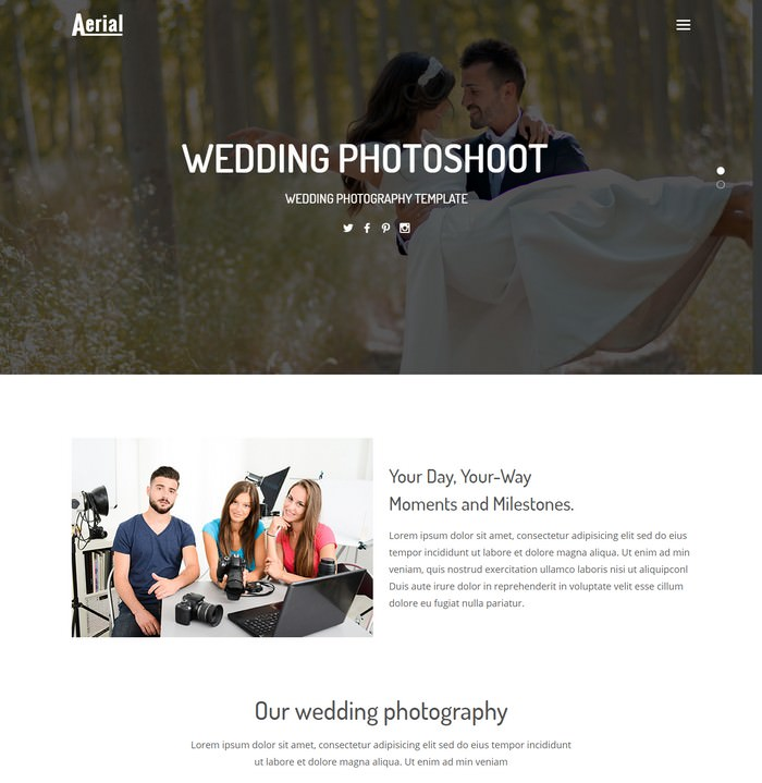 Aerial - Wedding Photography Website Template