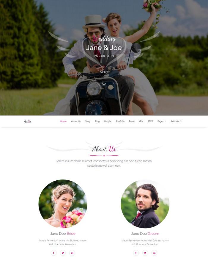 Arlin – Responsive HTML5 Wedding Template