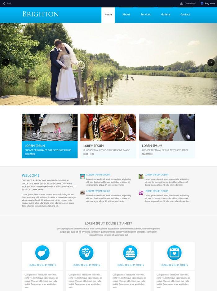 Brighton – A wedding planner Mobile Website Template