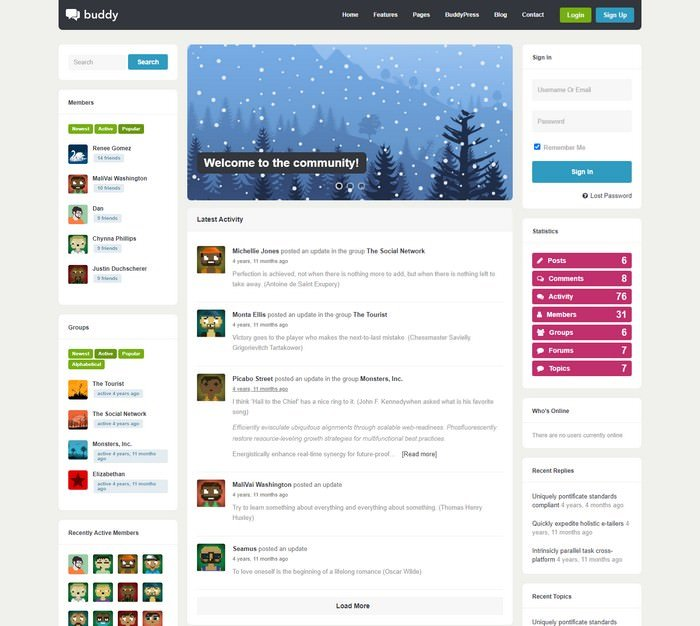 Buddy Multi-Purpose WordPress BuddyPress Theme