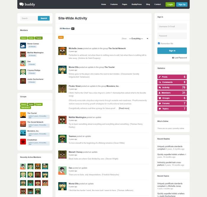 Buddy: Multi-Purpose WordPress/BuddyPress Theme