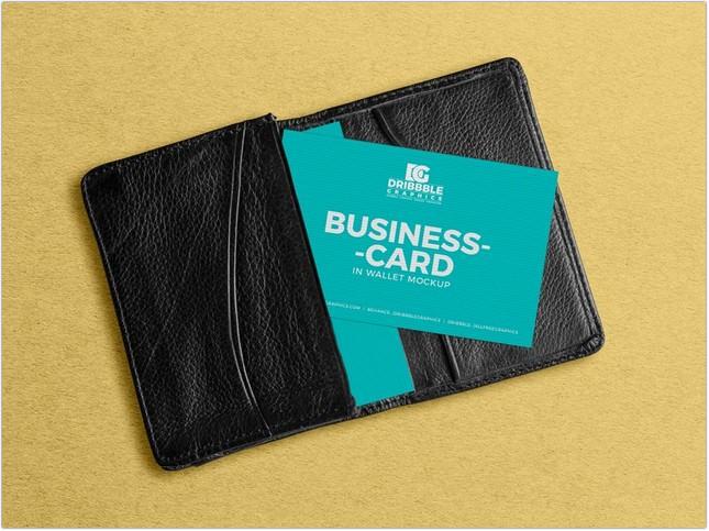 Business Card in Wallet Mockup