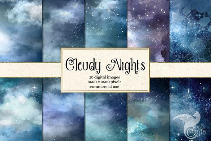 Cloudy Night Watercolor Sky Textures