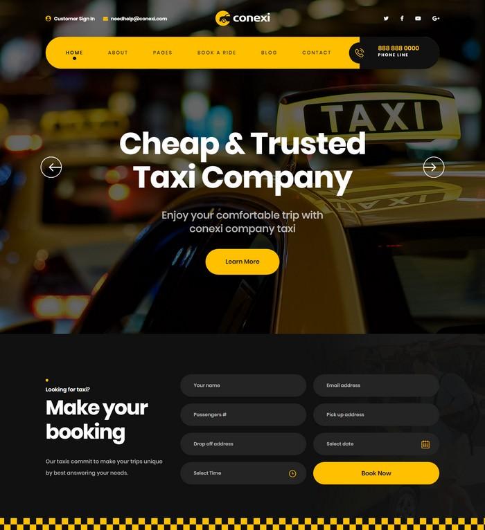 Conexi - Online Taxi Booking Service HTML Template