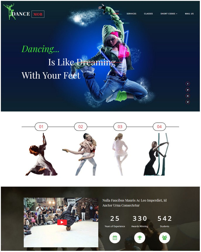 Dance Entertainment Responsive Website Template