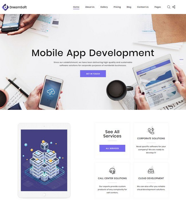 DreamSoft - Software Development Company Multipage Website Template