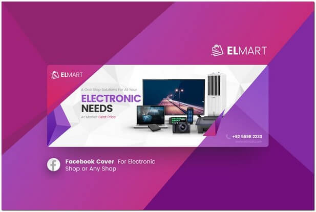 Electronic eCommerce Facebook Cover Template
