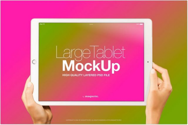 Female Hands with White Horizontal iPad Pro Mockup