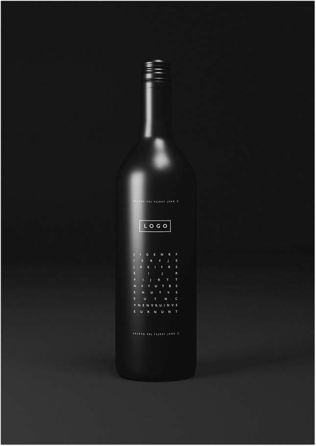 Free Black Wine Bottle Mockup