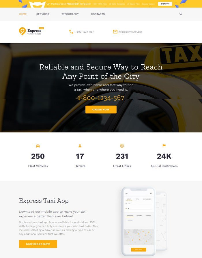 HTML5 Theme for Taxi Company Website Template