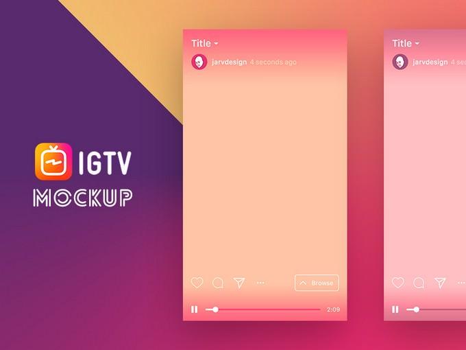 Free IGTV App UI Template Mockup in PSD