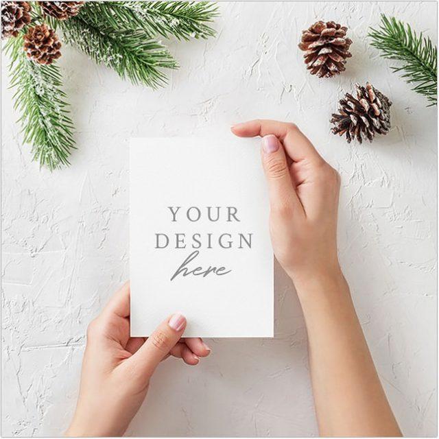 Free PSD Christmas Card Mockup