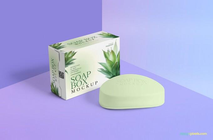 Free Packaging Box & Soap Mockup