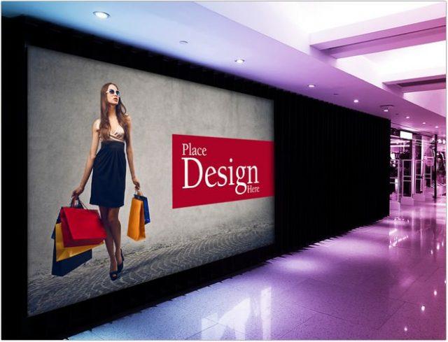 Free Shopping Mall Billboard Mockup