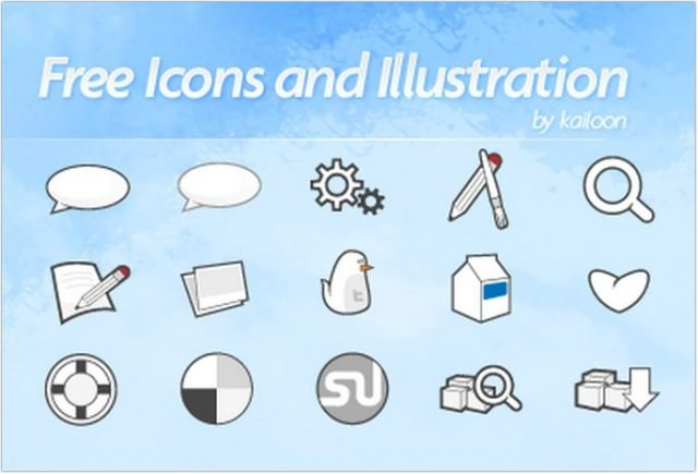 Free Vector Icons Set + Twitter Birdy Icon