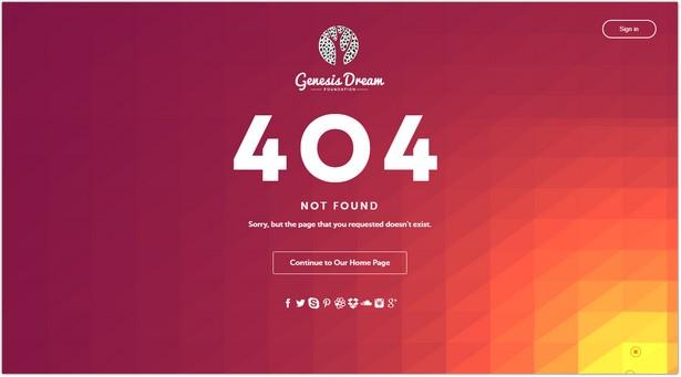 Genesis Dream - Responsive 404 Error HTML5