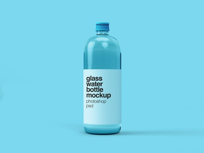 Glass Water Bottle Mockup