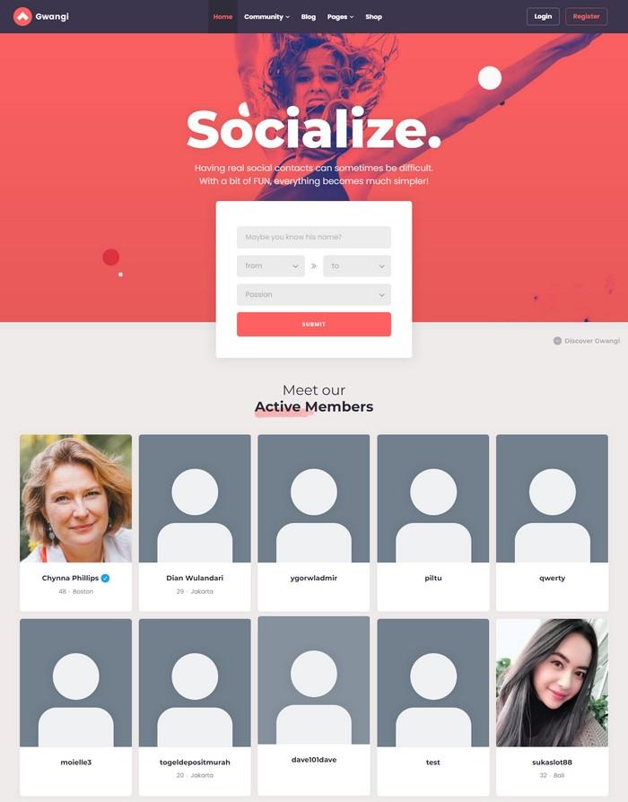Gwangi BuddyPress Community Theme