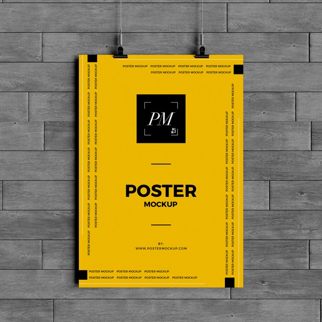 Hanging Over Wall Poster Mockup PSD