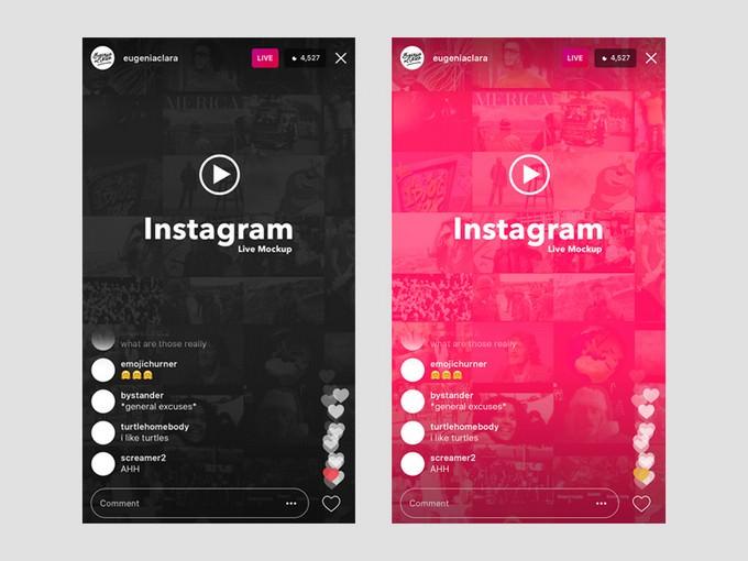 Instagram Live (iOS) UI Template & Mockup