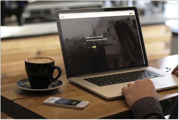 Macbook Pro & iPhone SE Coffee Shop Mockup 3 of 3