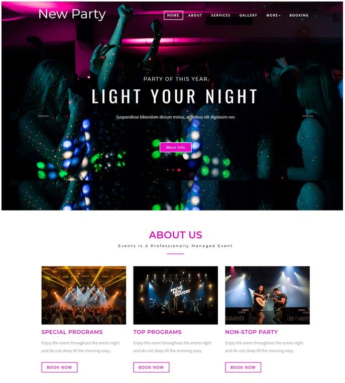 New Party Entertainment Responsive Website Template