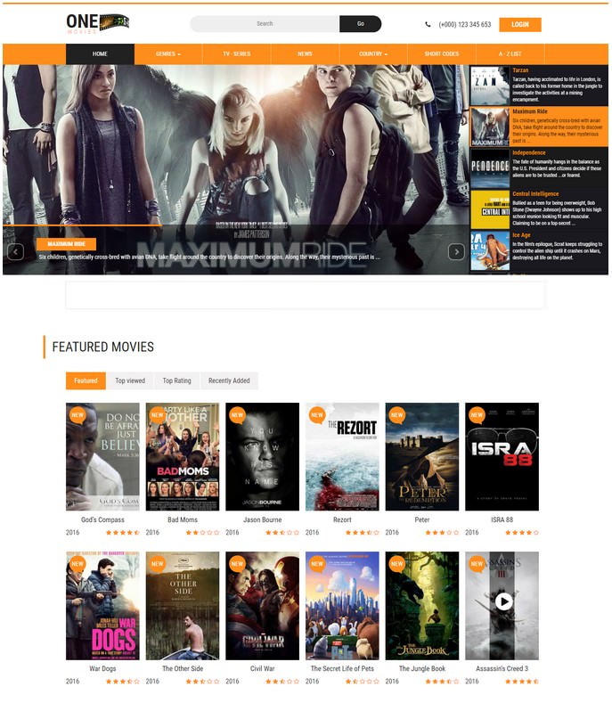 One Movies Entertainment Responsive Website Template