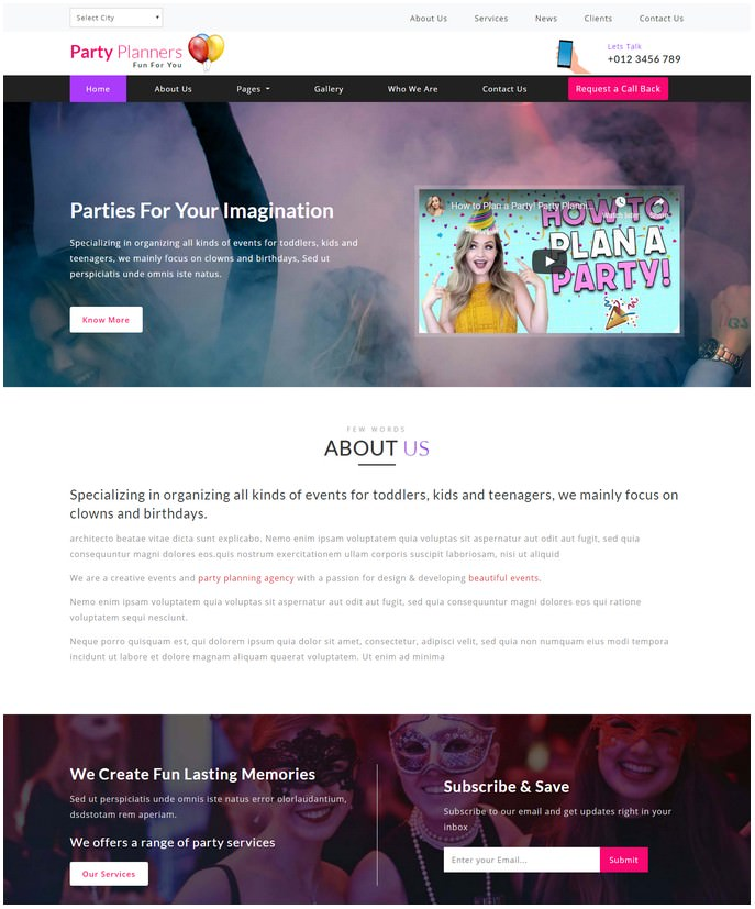 Party Planners Entertainment Website Template