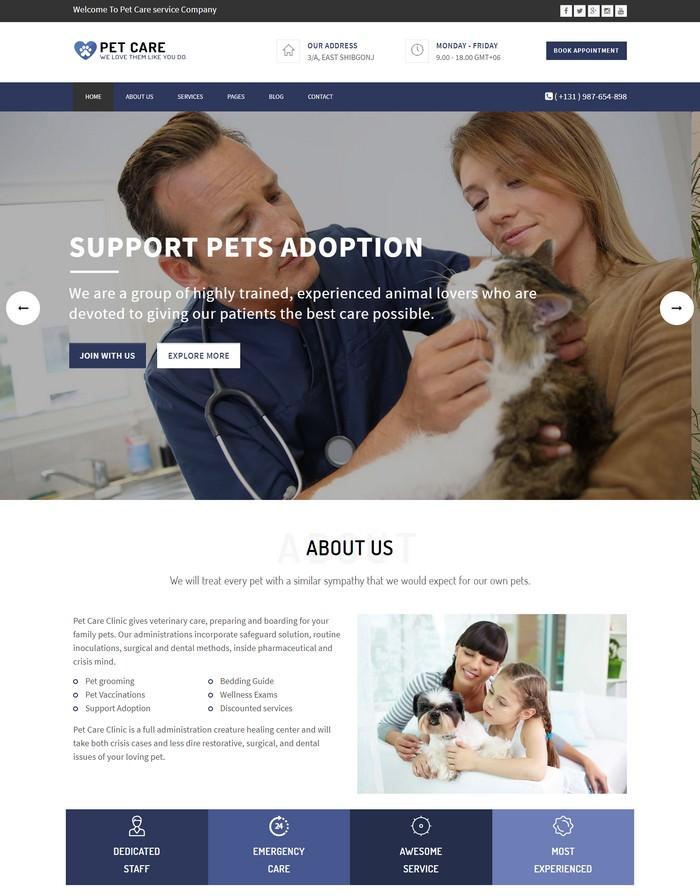 Pet Care - Responsive HTML5 Template