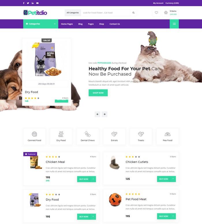 Petitudio Pet Food Shop Website Template