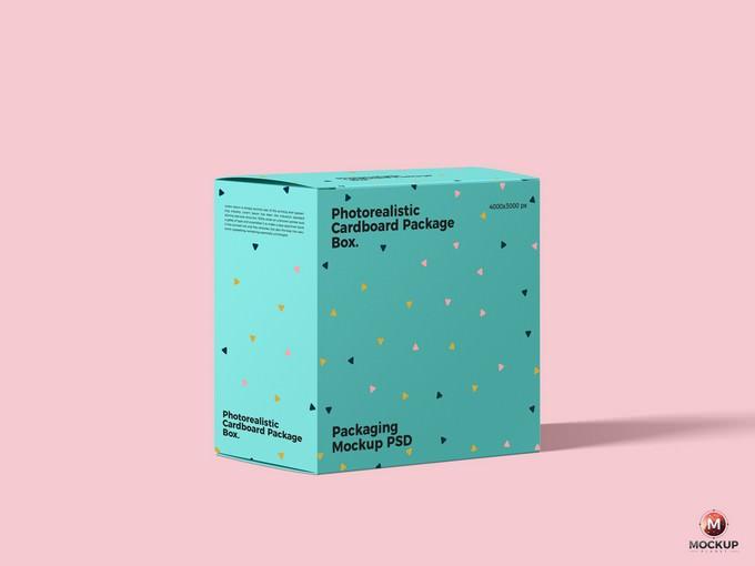 Photorealistic Cardboard Package Box Mockup