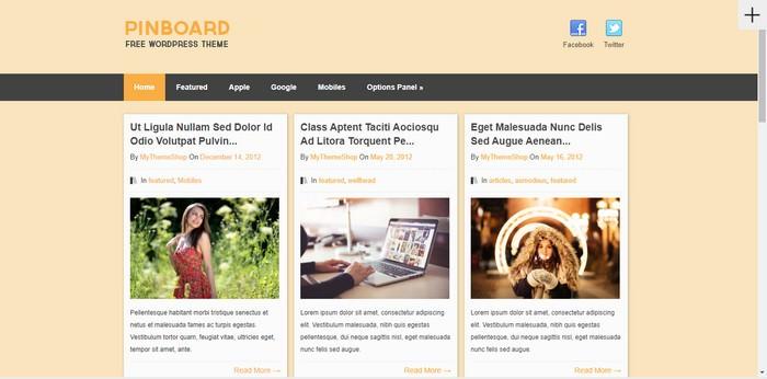 Pinterest styled WordPress Theme