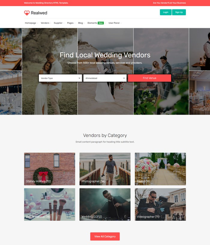 Realwed - Wedding Supplier Directory & Listing HTML Template
