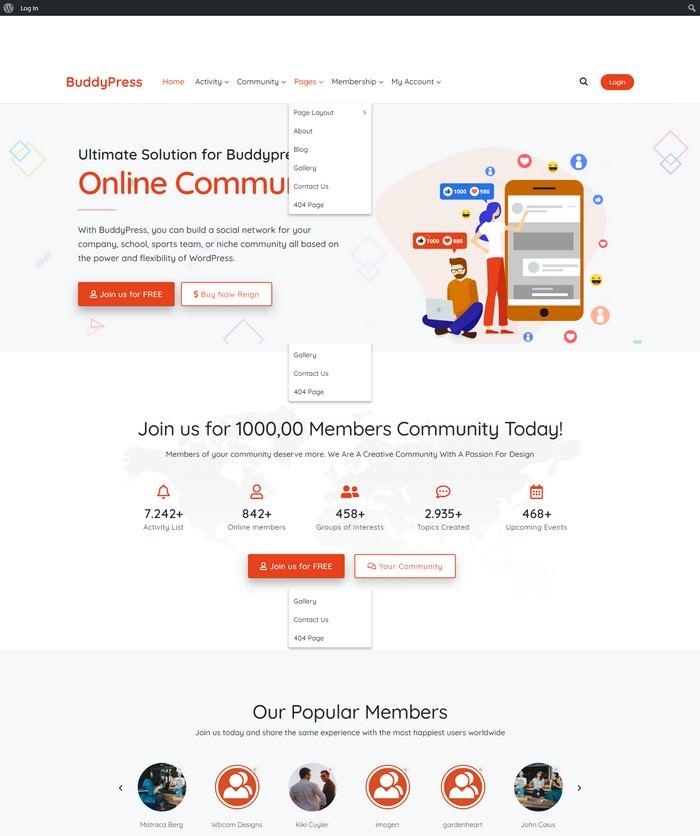 Reign BuddyPress & bbPress WordPress Theme