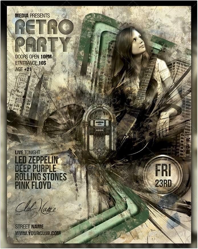 Retro Vintage Night Club Party Concert Flyer