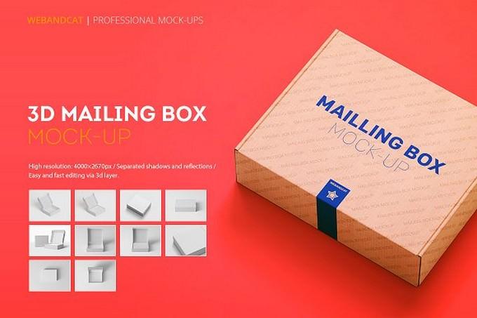 Shipping Mailing Box Mock-up