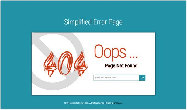 Simplified Error Page Template