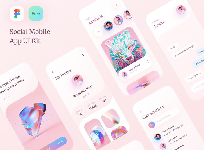Social Mobile App UI Kit - Figma