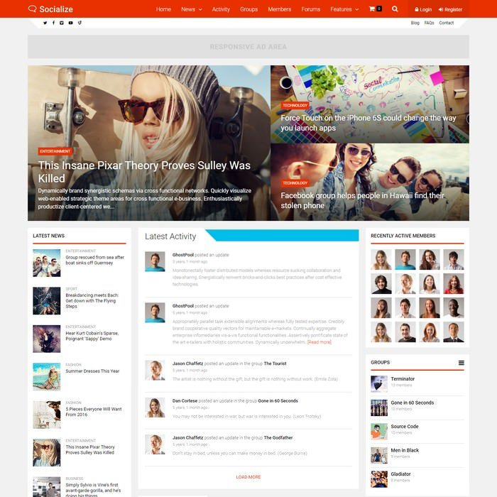 Socialize Multi-Purpose BuddyPress Theme