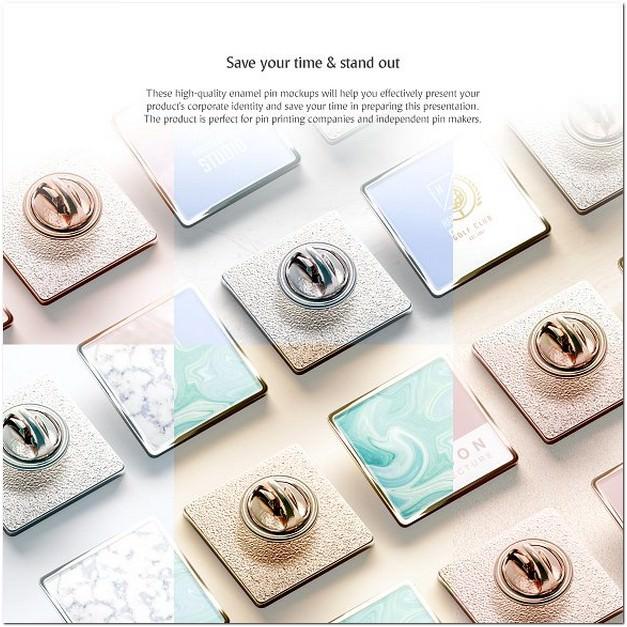 Square Enamel Pin Mockups Set