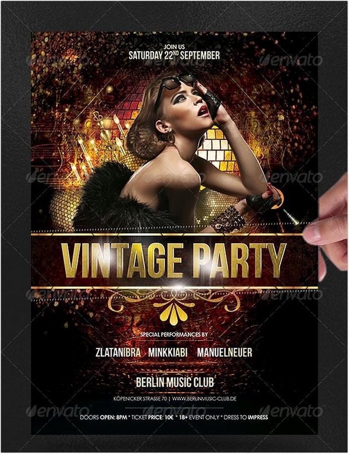 Vintage Gold Party Poster Flyer