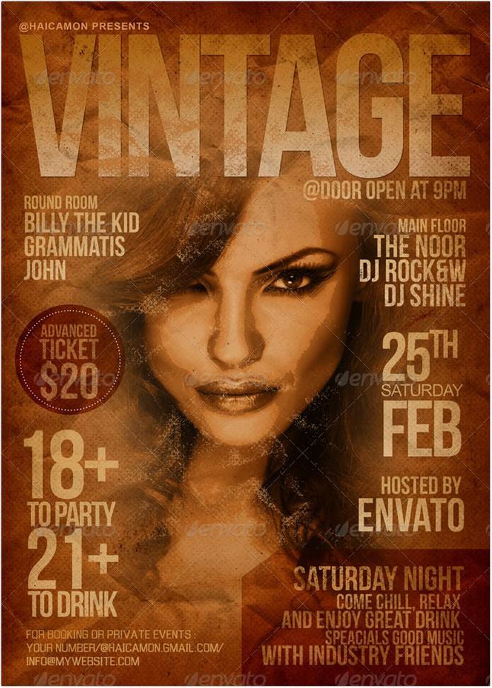 Vintage Magazine Party Flyer