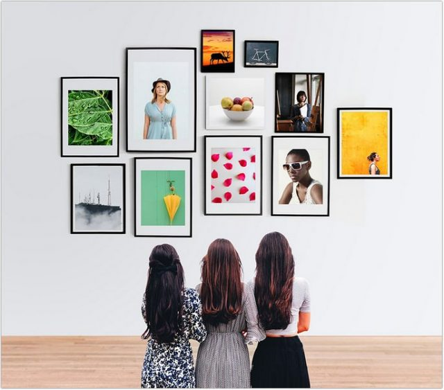 Wall Photo Frames Gallery Mockup PSD