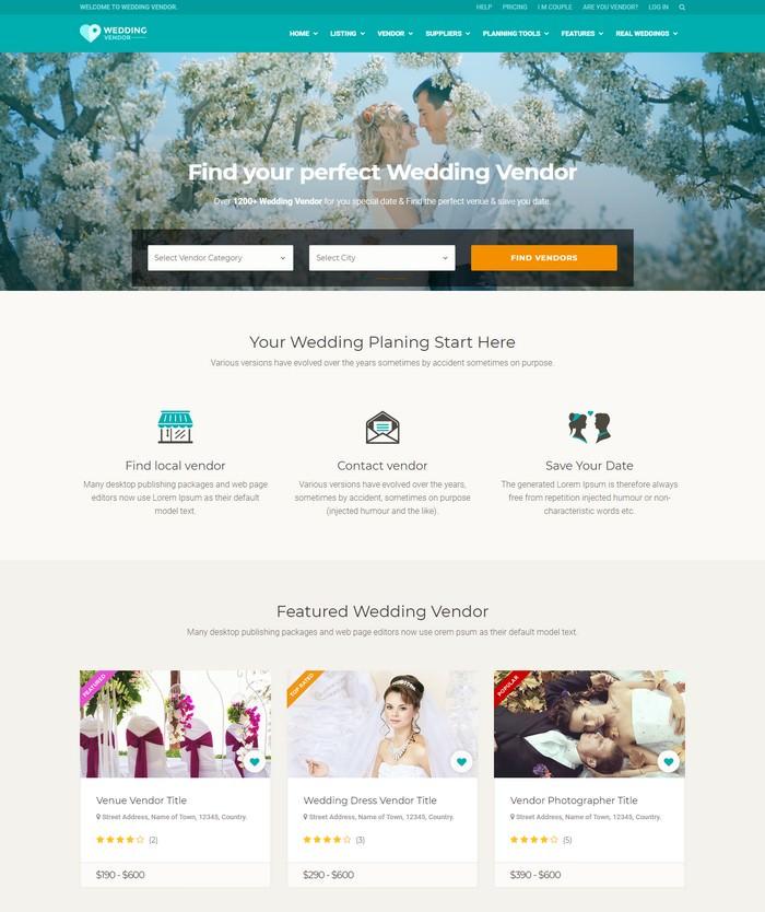 Wedding Vendor Directory & Listing HTML5 Template
