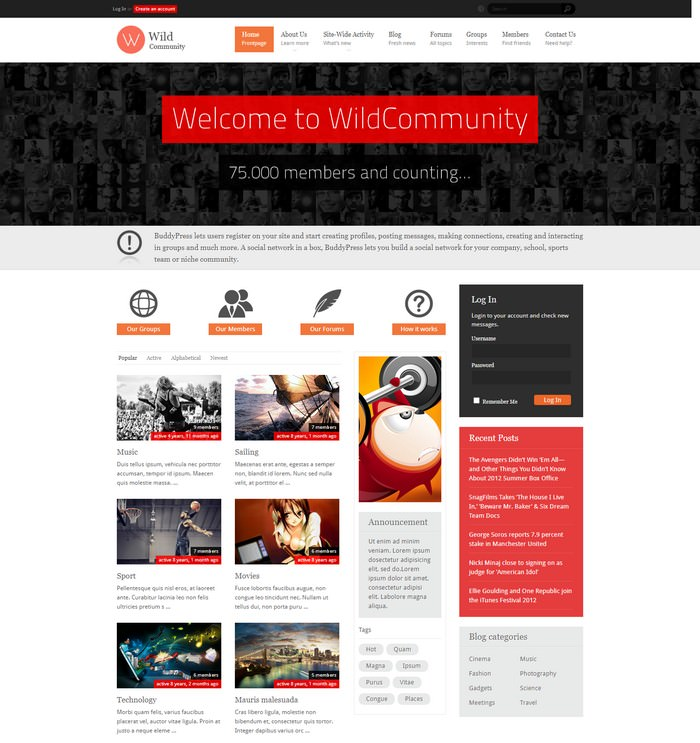 WildCommunity - BuddyPress Theme