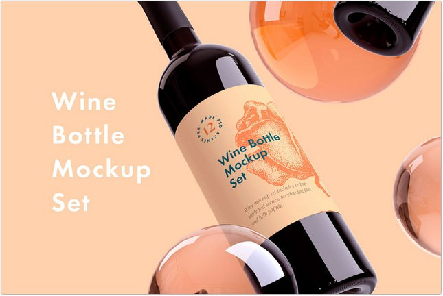 Wine Bottle Mockup + Free sample
