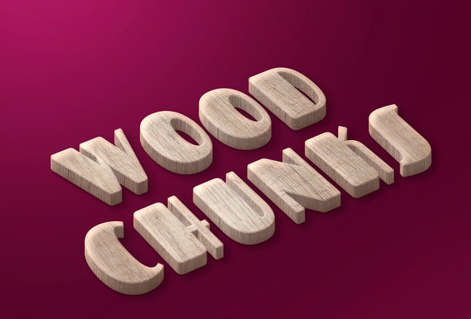 Wood Chunks Text Style Freebie