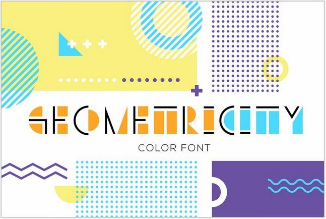 geometric display color font