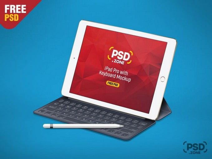 iPad Pro with Keyboard Mockup PSD
