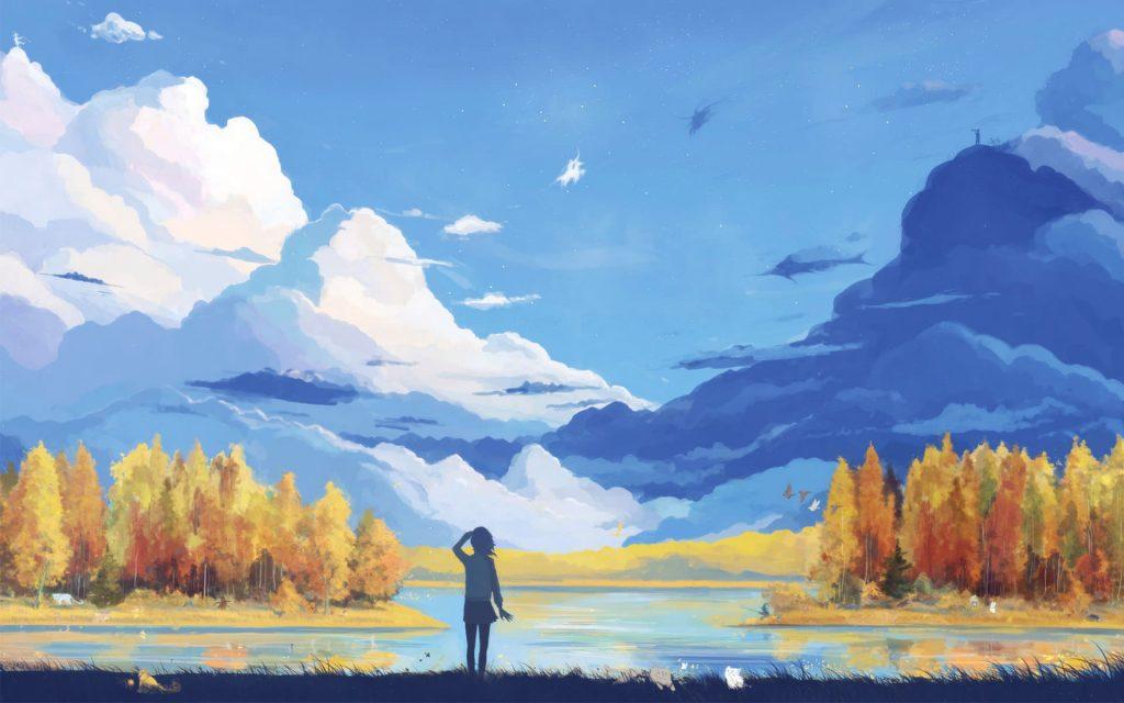 Landscape And Anime Girl art HD Wallpaper-1920×1200